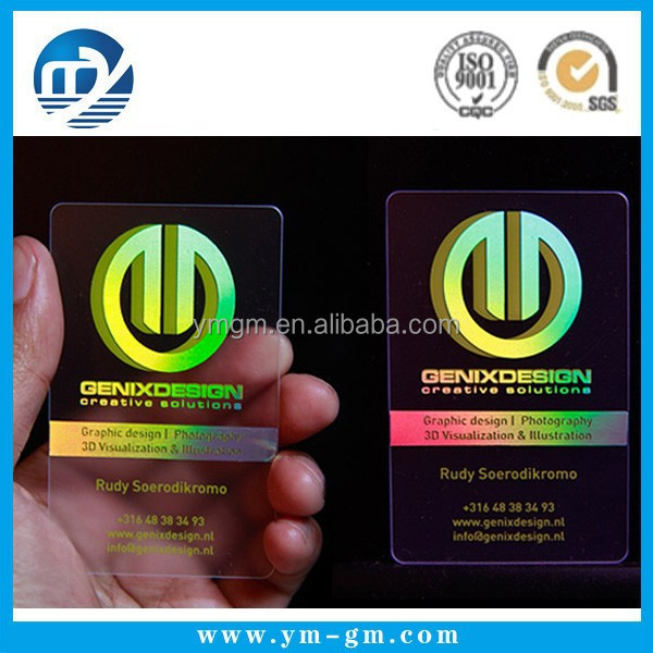 High quality custom plastic transparent hologram business for Order custom business cards
