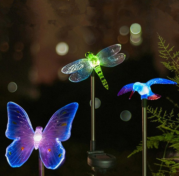 Best price stainless steel stick solar garden light dragonfly