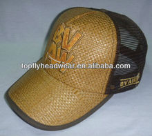 fashion Light brown straw curved brim trucker cap with embroidery