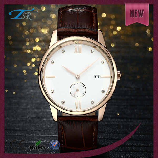 2014 Shenzhen Factory Supply Cheap Leather Mens Dress Watches, Gold Plated Western Watches For Men