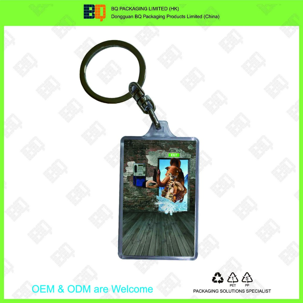 clear acrylic keychains with customer's design 3D lenticular sticker