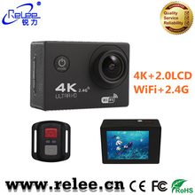 Relee good price 2.0 LCD action camera with remote control 4K ultra HD 1080P wifi sport action helmet camera wireless underwater