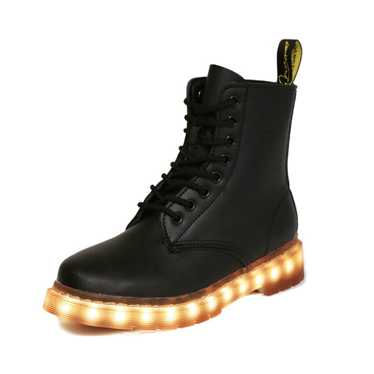 New Fashion light up shoes Rechargeable High quality PU leather Martin boots LED Shoes for women men