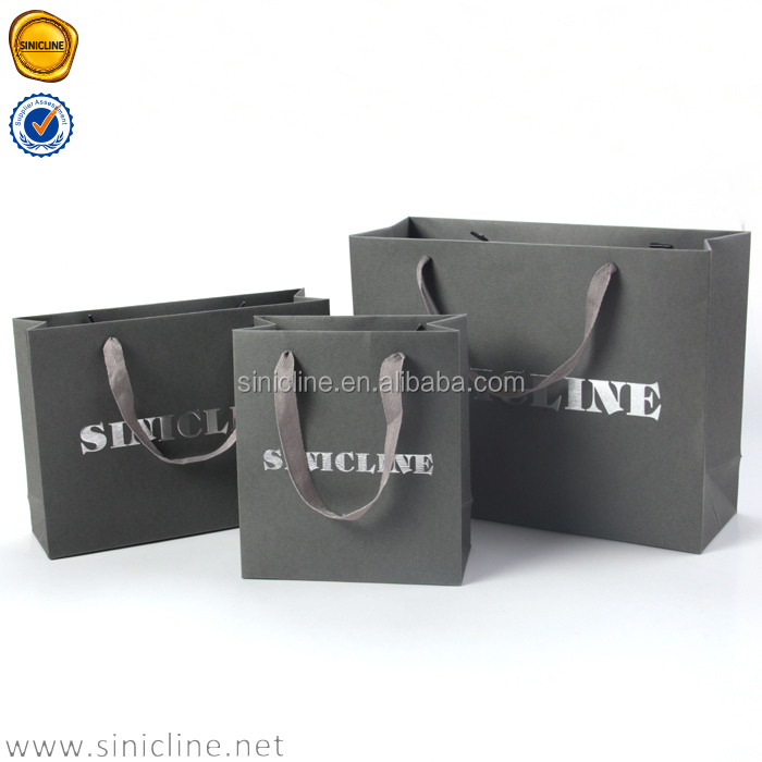 Sinicline 2016 graceful grey nobel quality Custom Foiling Stamping Luxury Paper Shopping Bag