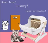 New design Semi-automatic indoor pet toilet cat litter box