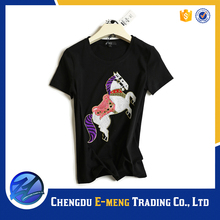 Low price cotton t-shirts for woman with horse printing in bulk promotion