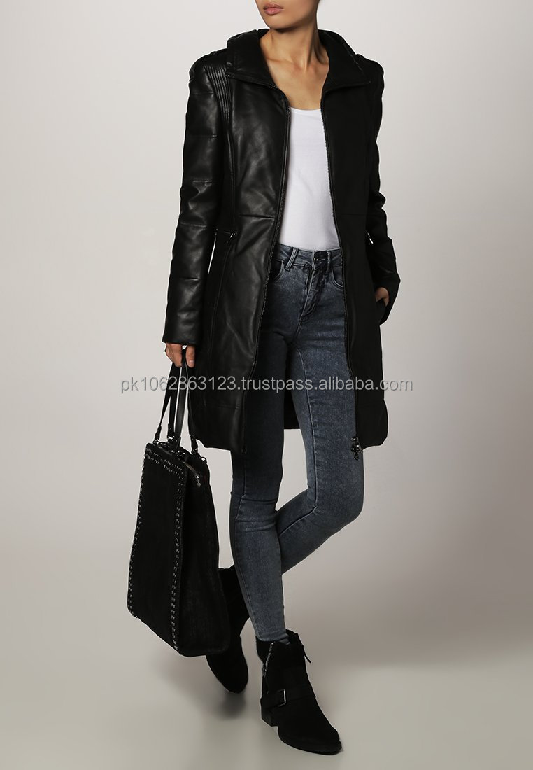 100% Genuine sheepskin Ladies long leather coat