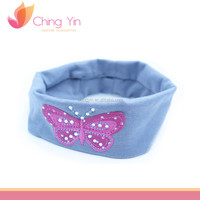 Cute Comfortable Embroidery Butterfly with Rhinestones Elastic Hair Wrap Headband Hair Accessories for Infant Baby Girls