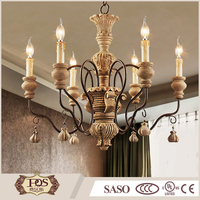 Indoor decorative lighting wholesale modern hanging light wooden chandelier lamp for restaurant