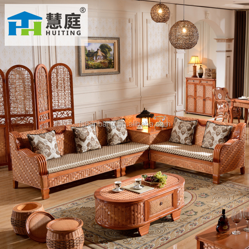 2015 High Quality Indoor L Style Handicraft Sofa Cane