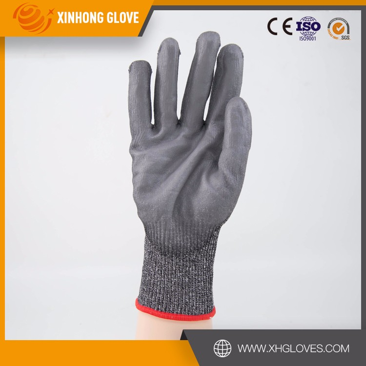 Glass Handling Meat Butcher PU Palm EN388 CUT 5 HPPE Cut Resistant Touch Screen Cheap Gloves
