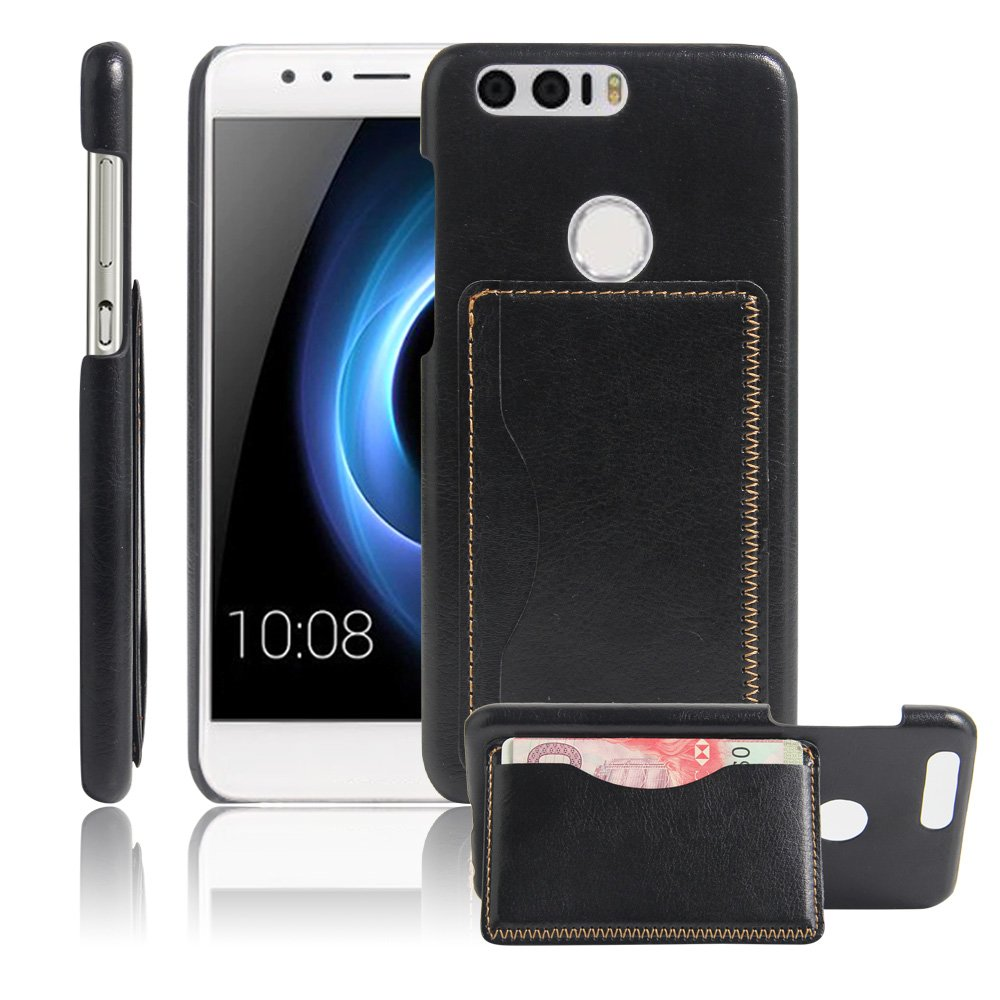 For Huawei Honor 8 Leather Coated Back Case Cover, Card Slots Stand Hard PC Case for Huawei Honor 8