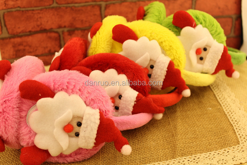 2016 New design kids Christmas Gift winter plush cartoon earmuff