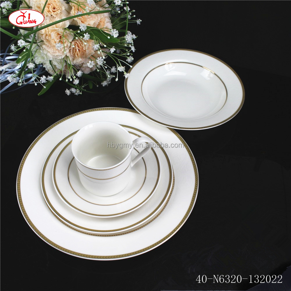 Luxury plates sets dinnerware with gold rimmed