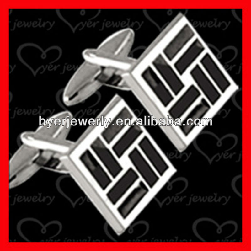 black and white enamel placed aigner cufflink