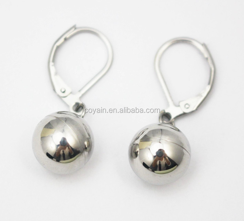 Trendy shiny women silver clip-on drop ball earring 316L stainless steel metal clip-on earring