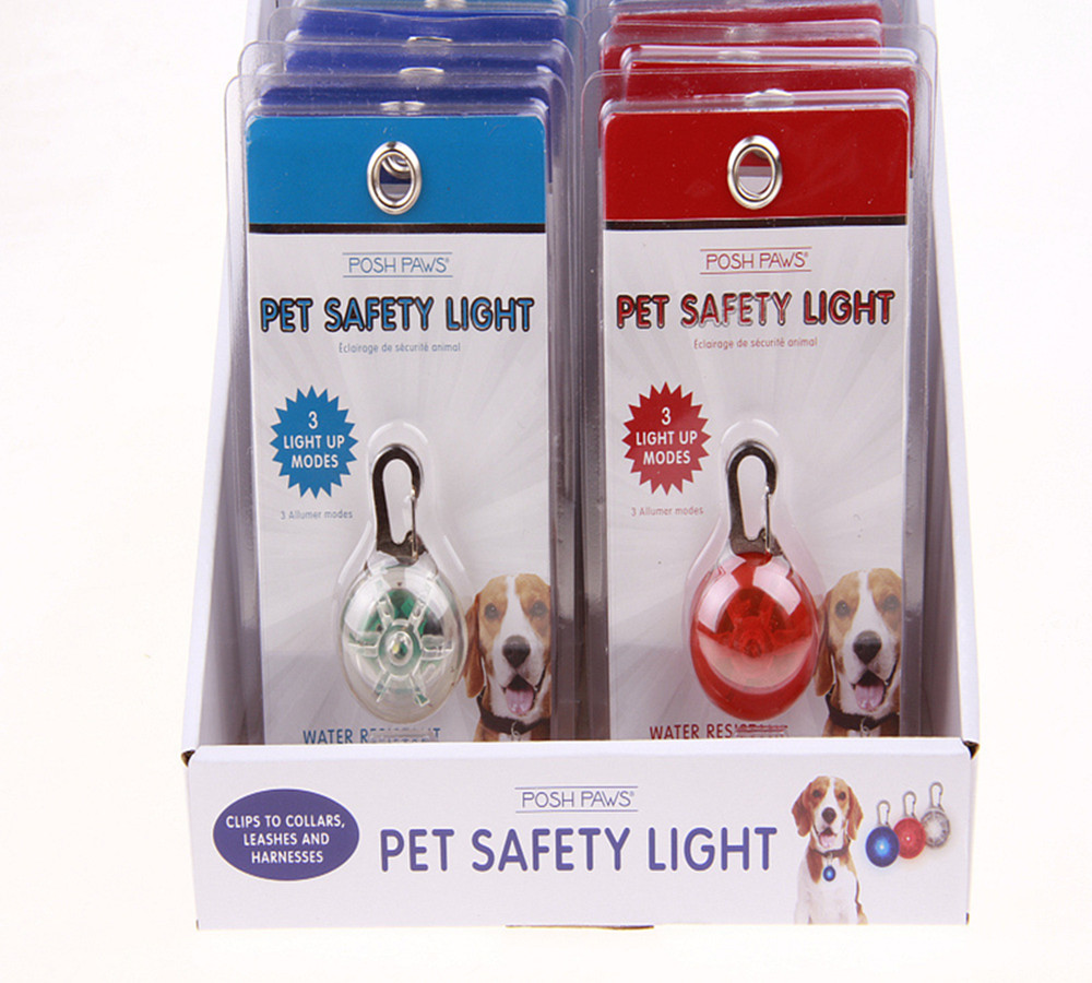Display Box Packing Waterproof Safety Lights with Stainless Steel Carabiner for Dogs and Cats for Night Walking