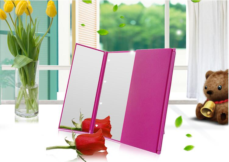 8 Led Light Infinity Touch Screen Plastic Trifold Mirror Lighted Makeup Wholesale