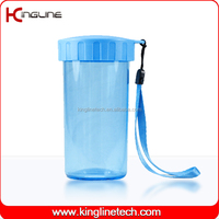300ml plastic double layer cup with lanyard (KL-5018)