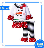 Lovely baby girls christmas outfit kids ruffle pajamas