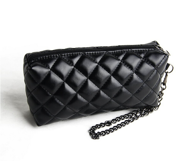 Quilted Cosmetic Clutch Makeup Purse Bag Black