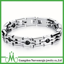 Stainless Steel Link Wristband Mens Jewelry Watch Strap Bracelet with Embed Beads