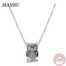 Fashion Sterling Silver White Diamond Owl Pendant Necklace