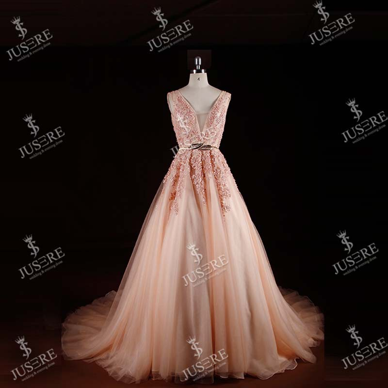 Latest Design Real Luxury Pink Deep V-neck Lace Beaded Evening Dress
