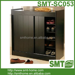 Modern Black Simple Wooden Stylish Shoe Cabinet With Sliding Door