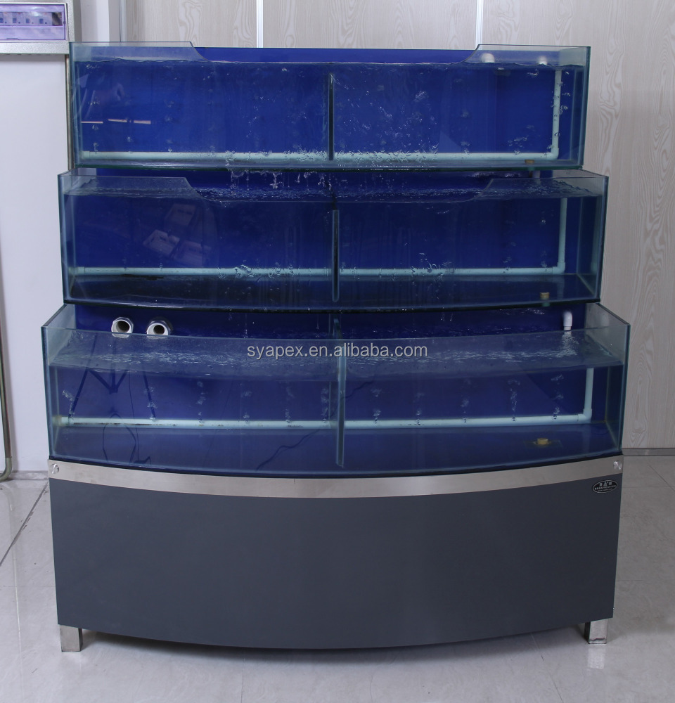 APEX custom make supermarket or restaurant 3 layers temperature adjustable refrigeration aquarium large commercial fish tanks