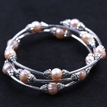Woman Fashion Accessories Freshwater Pearls Adjustable Size Alloy Bangle Bracelet