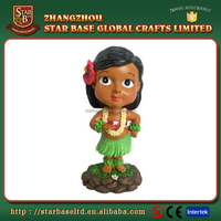 Custom cute hawaii hula girl figurine resin 3d bobble head