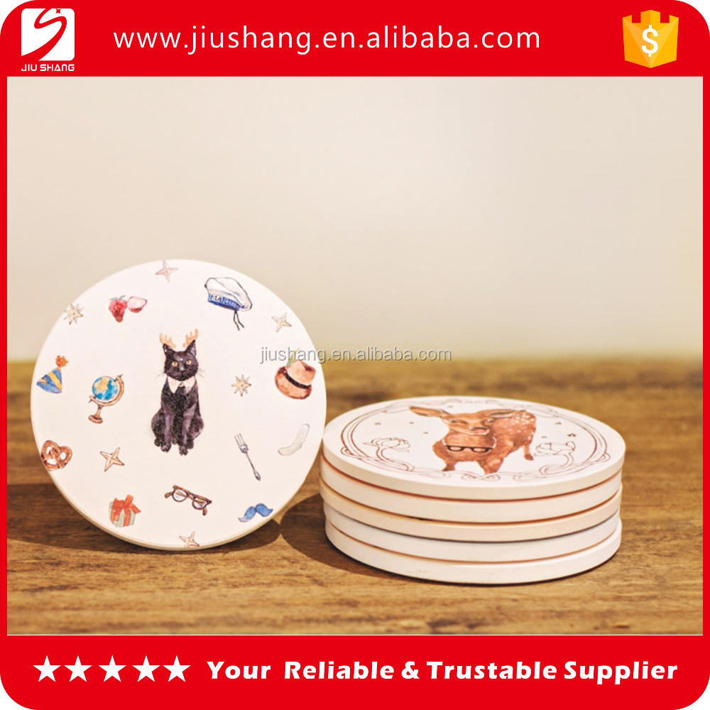 High quality round ceramic drink coaster with cork bottom for sale