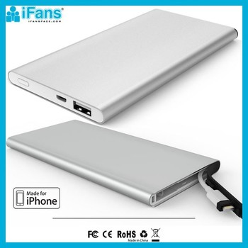 iFans Ultra Slim Aluminium 6000 mAh MFI Power Bank With Cable