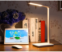 Newest dimmable folding office qi wireless charger desk lamp with USB port led table lamp with auto timer off function