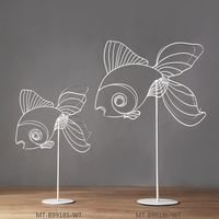 Metal Artificial Wiggling Goldfish Ornament White