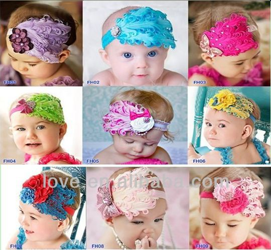 Wholesale Baby Girls Curl Nagorie Feather Pads Headbands In stock