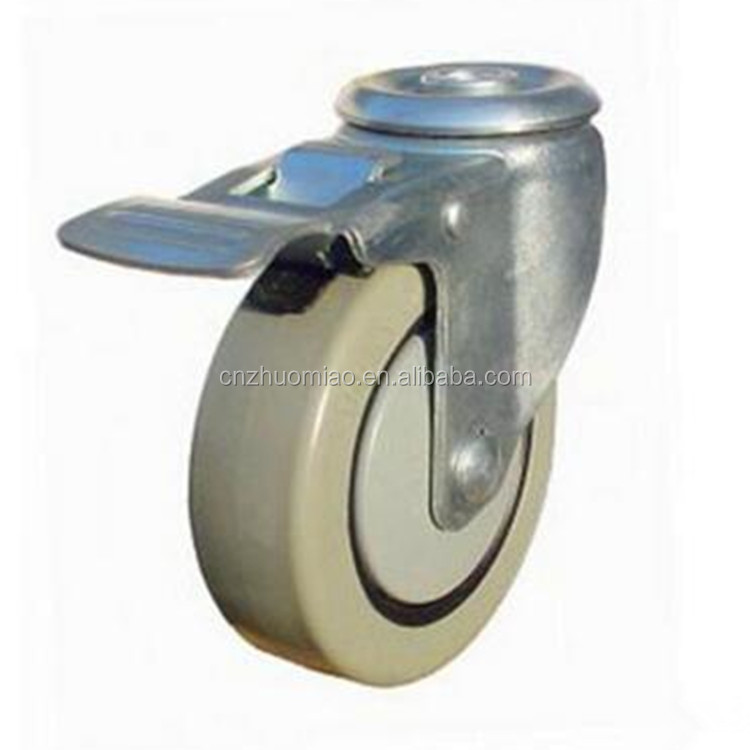 Hole top swivel caster PVC casters without stem 4-inch high quality Top Hole trolley caster with Total Lock Brake