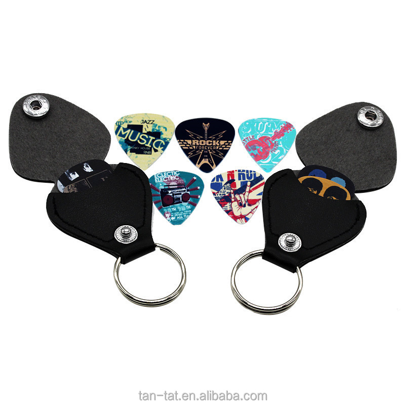 Cowhides Leather Keychain Guitar Pick Gift Case