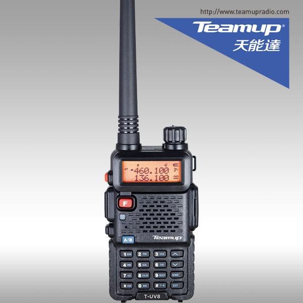 Teamup T-UV8 portátil VHF/UHF rádio em Dois sentidos Ham FM transceptor de banda dupla walkie talkie