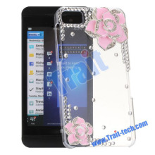 3D Peony PC+Shinning Crystal Diamond Studded Transparent Hard Case For Blackberry Z10