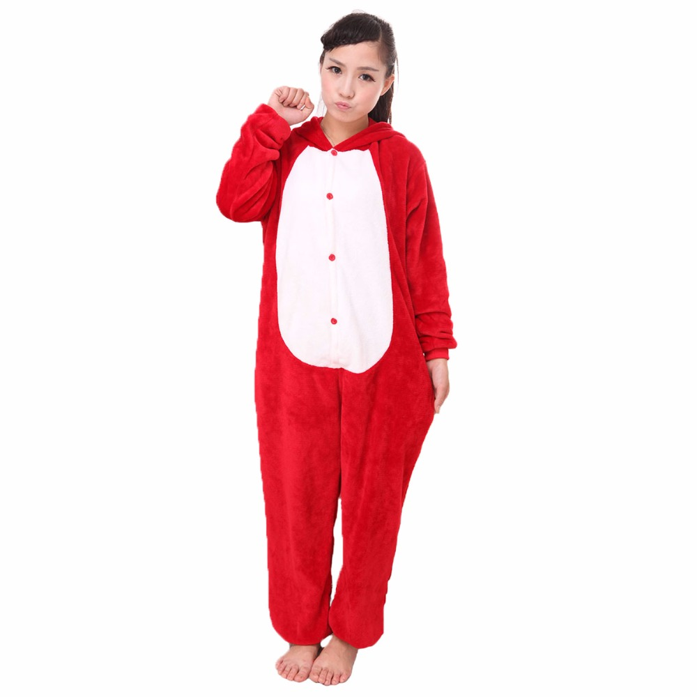 Animal Pajamas Red Pajamas for Adults Soft Fleece Pajamas