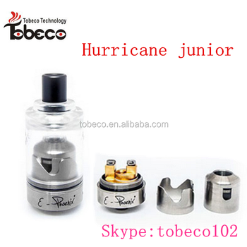 Tobeco 2016 new Hottest selling 2ml hurricane junior 1:1 clone great flavor two coil deck hurrican junior rta clone