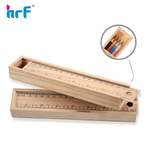 Drawer Type Wooden pencil Case With Ruler