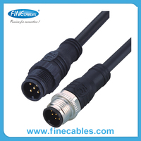 M12 molded cable straight male and female dc power connector