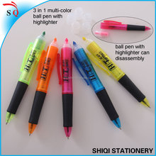 stationery products 3 in1 pens , different colors highlighter pen