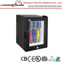 40L Low noise lockable fridge with glass door