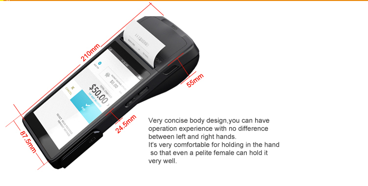5.5 inch handheld portable android restaurant touch screen all in one pos terminal with printer nfc