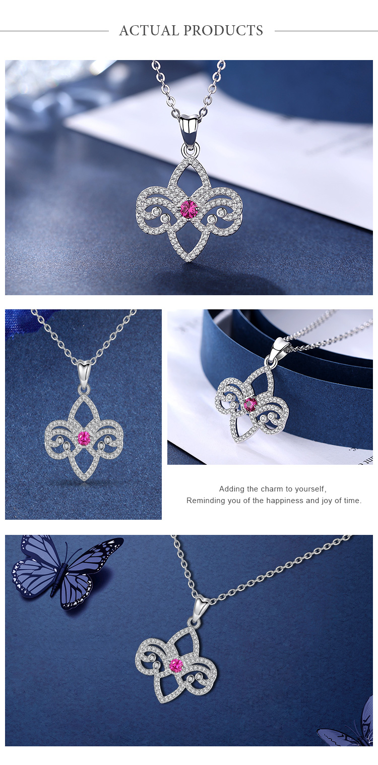 Rhodium plating 925 Sterling Silver pink Clear Crystal jewelry fleur de lis charm pendants