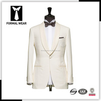 New style custom made men's coat pant designs wedding suits for men white